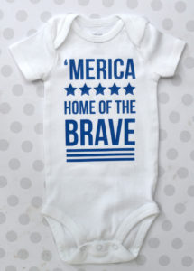 'Merica Home of the Brave Onesies. Grab matching shirts for the whole family for Fourth of July.