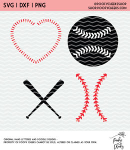 Softball and Baseball Cut File. Instant download after purchase. SVG, DXF and PNG for Silhouette and Cricut users.
