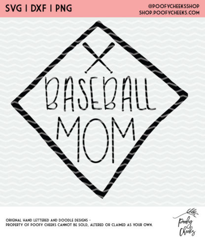 Baseball Mom - Softball and Baseball Cut File. Instant download after purchase. SVG, DXF and PNG for Silhouette and Cricut users.