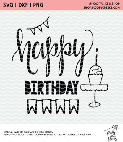Happy Birthday Banner and Cupcake Cut File - $1 Cut Files for Silhouette and Cricut.