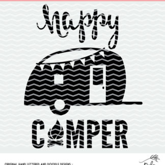 Happy Camper cut file for Silhouette and Cricut cutting machines. Instantly download the DXF, PNG and SVG files. #cutfile