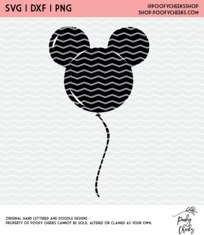 Disney Mouse Balloon Cut File. Instant download after purchase. SVG, DXF and PNG for Silhouette and Cricut users.
