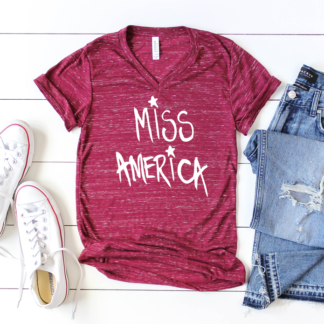 Miss America Adult Tee - Order Youth, Toddler and Onesie size matching tee for Momma and me Shirts