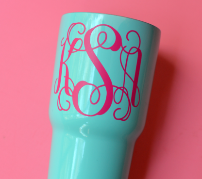 Monogram Vinyl Decal for insulated cups, window decals and more. Can be applied to any hard, flat surface.