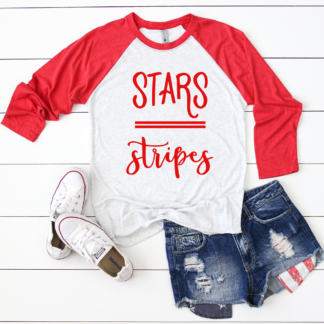 Stars and Stripes Red Raglan Top - 3/4 Length Sleeves - Fourth of July Shirt