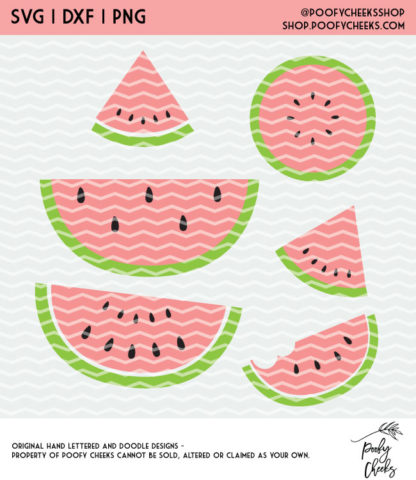 Watermelon cut file for Silhouette Cameo and Cricut cutting machines. #watermelon #fruit #cutfile