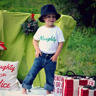 Naughty and Nice matching family shirts. From baby to adult.