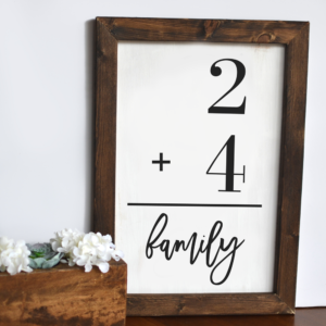 Family addition problem sign - Here's Your Sign Workshop