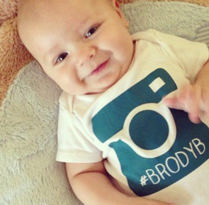 Instagram hashtag onesie and shirts. Camera with custom hashtag.