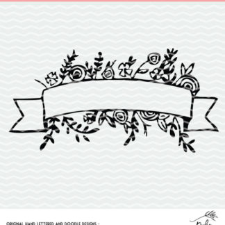 Floral Banner cut file for Silhouette and Cricut. DXF, SVG and PNG for instant download. #cutfile