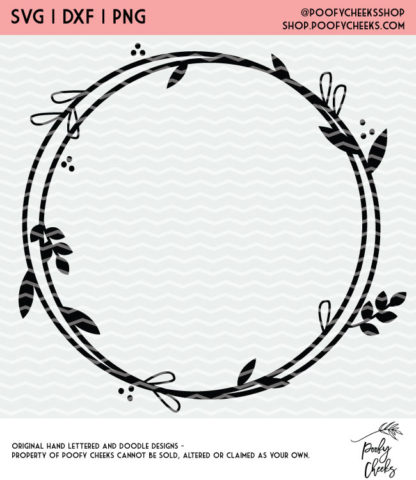 Floral circle cut file for Silhouette and Cricut. DXF, SVG and PNG for instant download. #cutfile