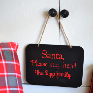 Santa, Please stop here personalized vinyl label. Christmas label to add to any hard, flat surface.