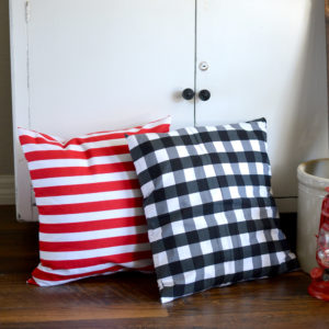 Striped and Buffalo Check Pillow Cover. Get ready for Christmas with our farmhouse inspired holiday collection.