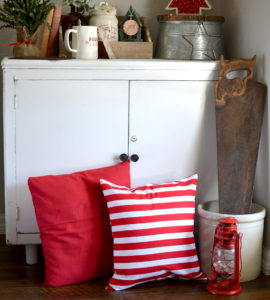 Red and White Strips Pillow Cover. Get ready for Christmas with our farmhouse inspired holiday collection.