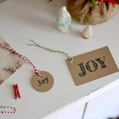 Joy Christmas Gift Tags - Set of 12 with twine. Top off your farmhouse Christmas gift with these kraft paper tags.