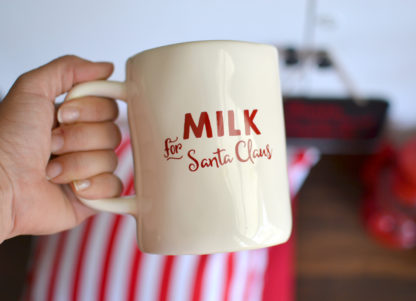 Milk and Cookies for Santa Claus vinyl labels. Decorate a cup and plate for Santa Claus.
