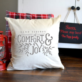 Tiding of Comfort and Joy Pillow Cover. Envelope pillow cover - pick your size.