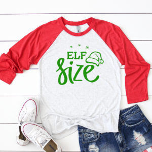 Elf Size Christmas Adult Raglan. 3/4 sleeves and matching toddler and youth sizes available.