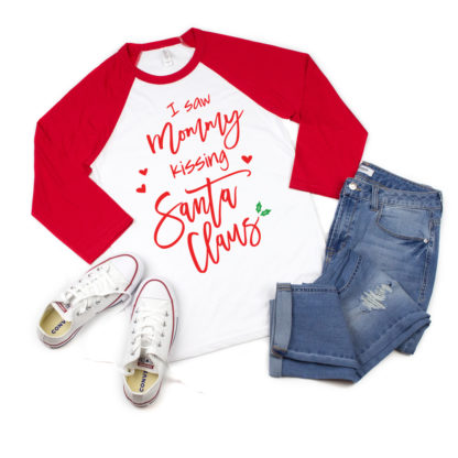 I saw Mommy Kissing Santa Claus. Matching Mommy and mini shirts.