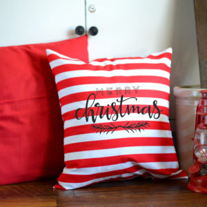 Merry Christmas red and white stripe pillow.