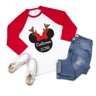 Christmas Disney Shirts - Matching family 3/4 sleeve raglans. Pick from Minnie or Mickey and personalized with the name or message of your choice.