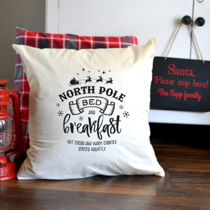 North Pole Bed and Breakfast envelope pillow cover. Handmade pillow covers in many sizes.