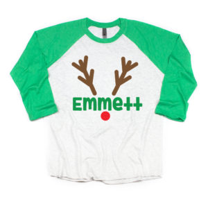 Personalized Reindeer 3/4 sleeve raglan. Matching family shirts in toddler, youth and adult.