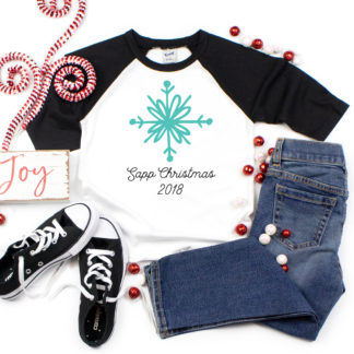 Snowflake Christmas Family Raglan shirts. 3/4 sleeve raglans for adults, youth and toddler.