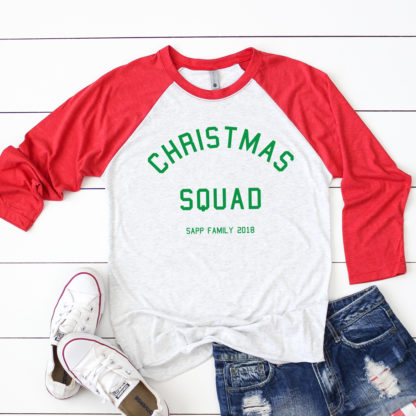 Christmas Squad Family Christmas Shirts. Wear with jeans or wear with PJs. Personalize with names or last name.