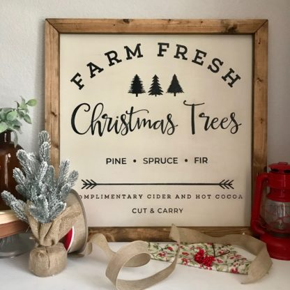 Farm Fresh Christmas Trees Sign. Hand painted wooden sign with frame.