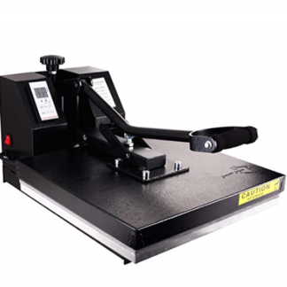 Power press heat press for heat transfer vinyl and heat press transfers.
