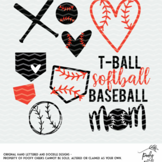 Balls, bats and bases cut file bundle. Baseball cut files for use with Silhouette and Cricut