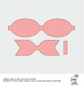 Bow Template for use with Silhouette and Cricut. Use to make a faux leather or felt bow. SVG, DXF, PNG and PDF