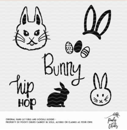Easter Bunny Cut Files. SVG, DXF and PNG files for use with Cricut and Silhouette.