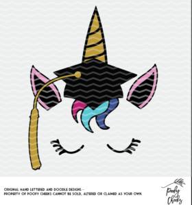 Unicorn Grad cut file for use with Silhouette and Cricut. DXF, PNG and SVG files.