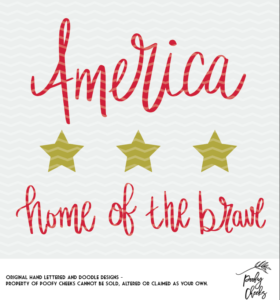 America Home of the Brave cut file for Silhouette and Cricut.
