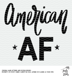 American AF cut file for use with Silhouette and Cricut. DXF, PNG and SVG files.