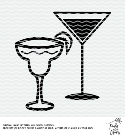 Cocktails cut file for Silhouette and Cricut. SVG, PNG and DXF