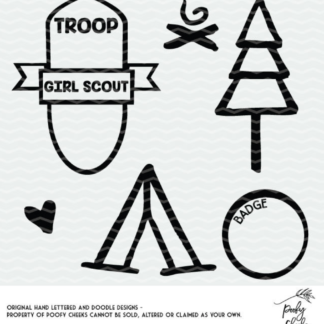 Girl Scout cut files for Cricut and Silhouette cutting machines. Grab the SVG, DXF and PNG files with girl scout shapes. #girlscout #cutfile