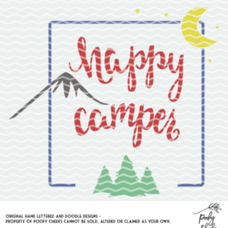 Happy Camper Cut File - Use with Silhouette Cameo or Cricut machines. SVG and DXF files included.