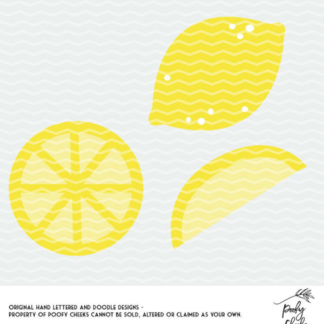 Lemon Cut File - Use with Silhouette or Cricut. PNG, SVG and DXF