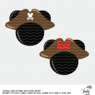 Minnie Mouse and Mickey Mouse pirate cut files for use with Silhouette and Cricut.