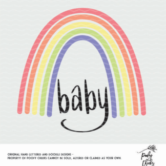 Rainbow Baby cut file. Cut file for use with Silhouette and Cricut. DXF, SVG, PNG