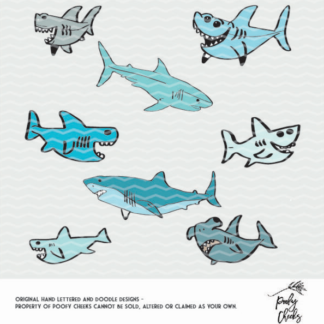 Shark Bundle cut file. Cut file for use with Silhouette and Cricut. DXF, SVG, PNG