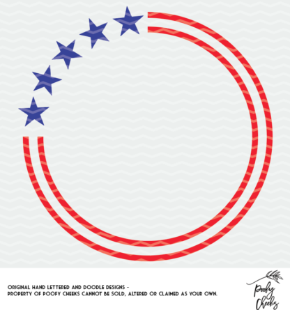 Stars and Stripes Monogram cut file for Silhouette and Cricut.