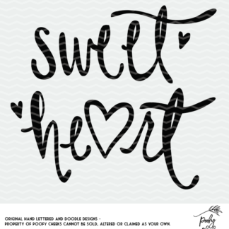 Sweet Heart Cut File. SVG, DXF and PNG cut file for use with Silhouette and Cricut.