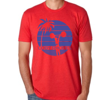 Coby Roades red shirt with blue design.
